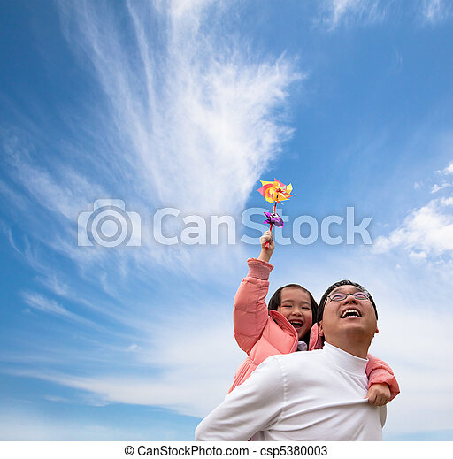 dziewczyna, ojciec, chmura, szczęśliwy - csp5380003