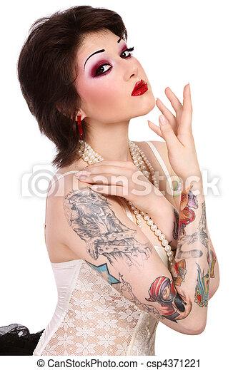 dziewczyna, tattooes - csp4371221