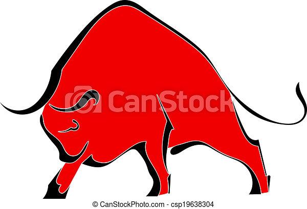 dziki, czerwony, byk - csp19638304