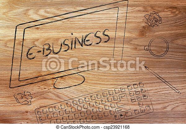 e-affaires, texte, bureau, coffe, écran, clavier ordinateur - csp23921168