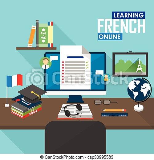 461890ca5425 E-apprendre, language., francais. Plat, formation, concept, courses ...