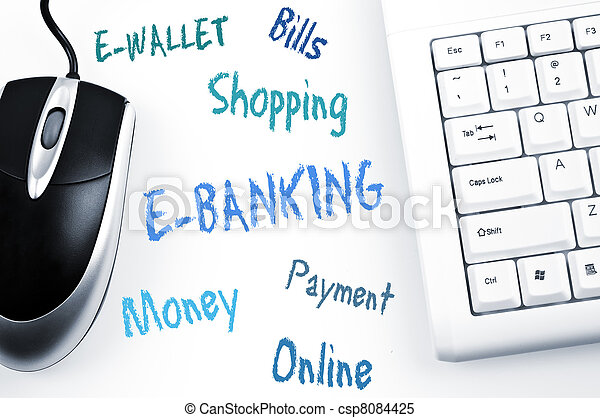 E-banking word scheme and computer keyboard - csp8084425