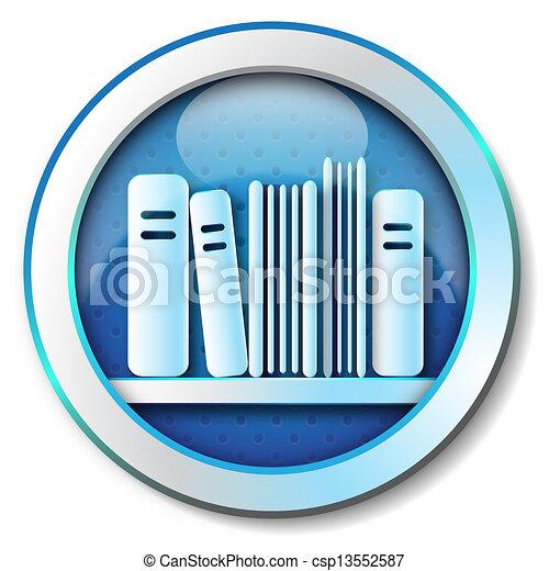 E-book library icon  - csp13552587