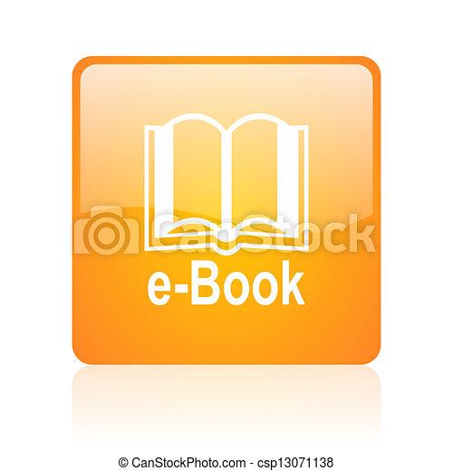 e-book orange square glossy web icon - csp13071138