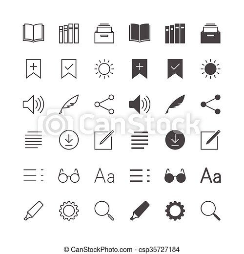 E-book reader icons, included normal and enable state. - csp35727184