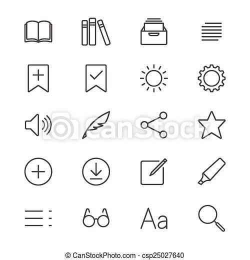 E-book reader thin icons - csp25027640