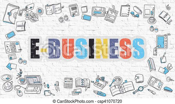E-Business Concept with Doodle Design Icons. - csp41070720