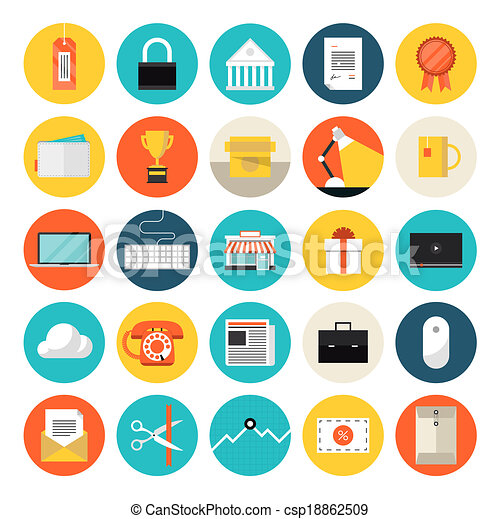 E-commerce and market flat icons - csp18862509