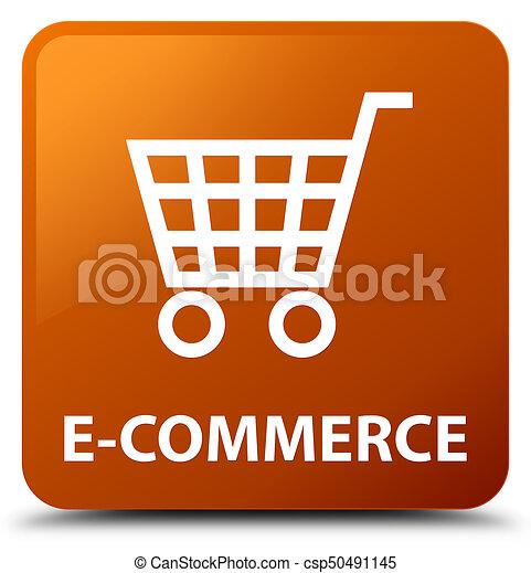 E-commerce brown square button - csp50491145