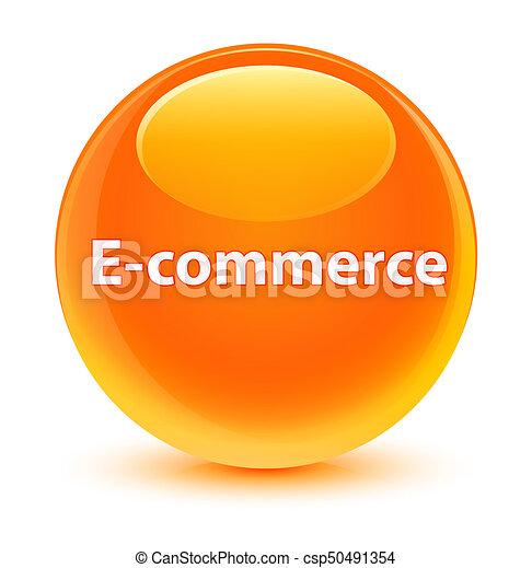 E-commerce glassy orange round button - csp50491354