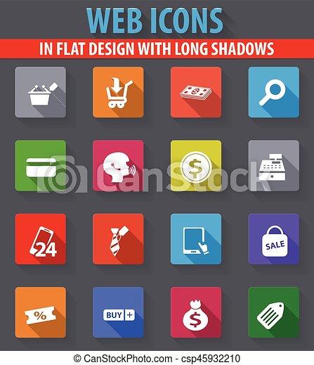 E commerce icons set e commerce web icons in flat design with long e commerce icons set csp45932210 altavistaventures Images