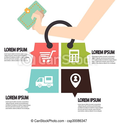E-commerce infographic Template with bag . Concept add to bag. Set of modern design icons in flat design with trendy colors for web and apps. - csp30086347