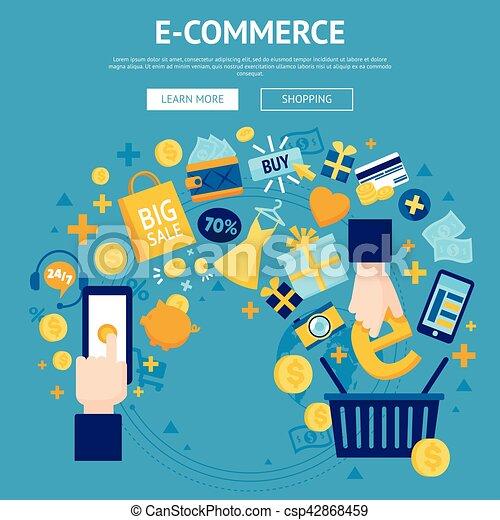 E Commerce Online Shop Webpage Design E Commerse Online Store Flat Banner Webpage Design With Shopping Cart And Sale Items