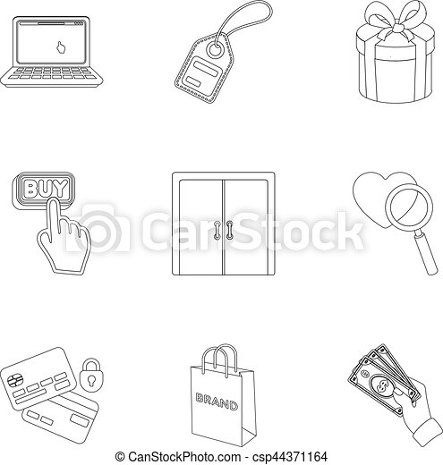 E Commerce Set Icons In Outline Style Big Collection Of Clip Art