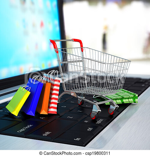 E-commerce. Shopping cart with cardboard boxes on laptop. 3d - csp19800311