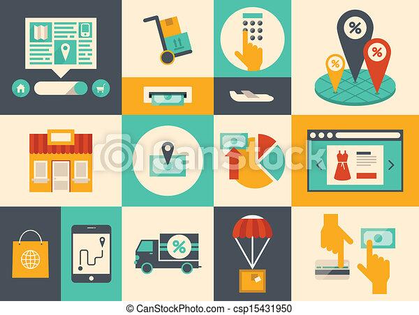 e-commercio, linea fare spese, icone - csp15431950
