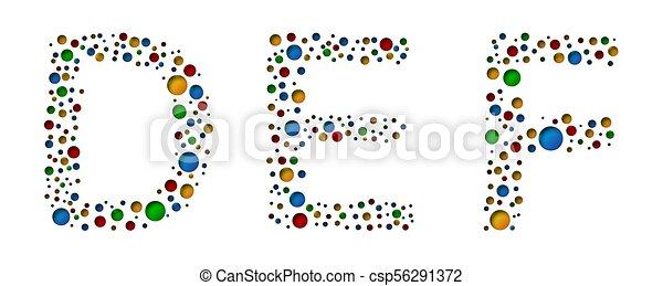 E D Pointillé F Illustration Letters Vecteur Coloré