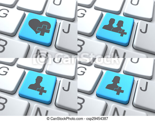 E-Dating Concept - Blue Button on Keyboard. - csp29454387