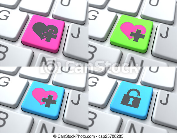 E-Dating Concept - Color Button on Keyboard. - csp25788285