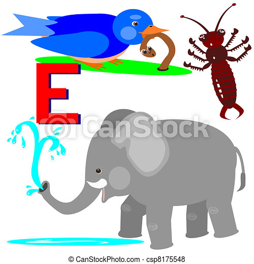 E earwig, early bird, elephant. Illustration of animals that start