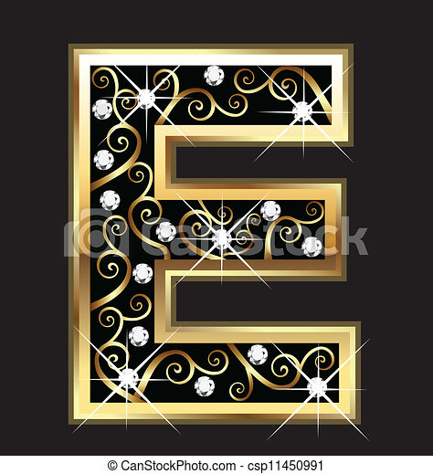 E gold letter with swirly ornaments - csp11450991