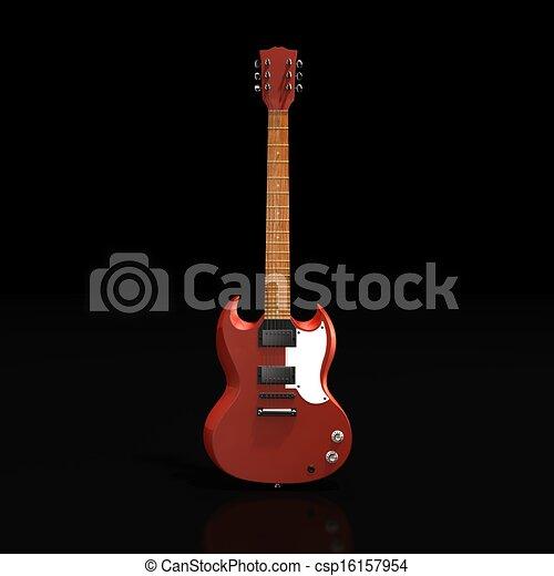 E-guitar, freigestellt, abbildung, übertragung, rotes , 3d.