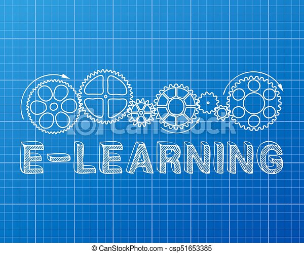 E learning blueprint e learning text with gear wheels hand e learning blueprint csp51653385 malvernweather Image collections