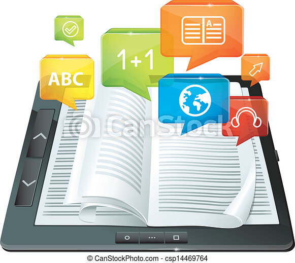 e-learning concept - electronic book - csp14469764
