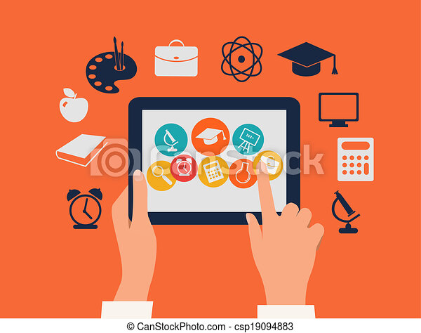 E-learning concept. Hands touching a tablet with education icons. Vector. - csp19094883
