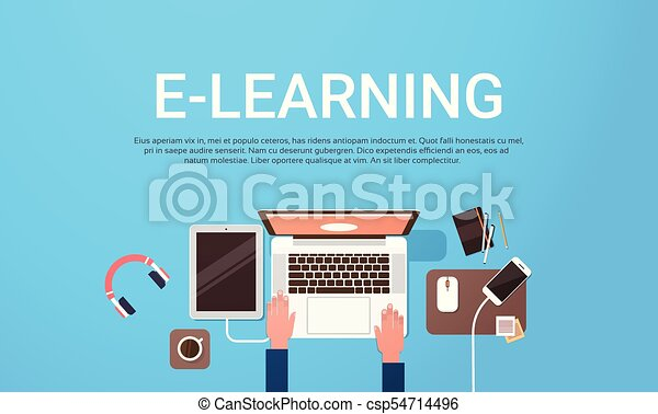 E Learning Education Online Banner With Student Laptop Computer Workplace Top View Background With Copy Space Flat Vector