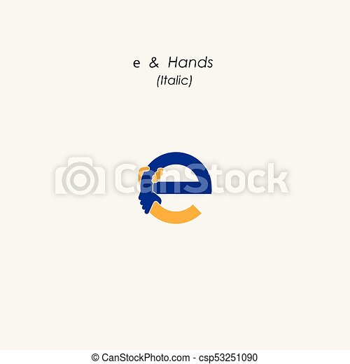 e letter abstract icon hands logo design vector template