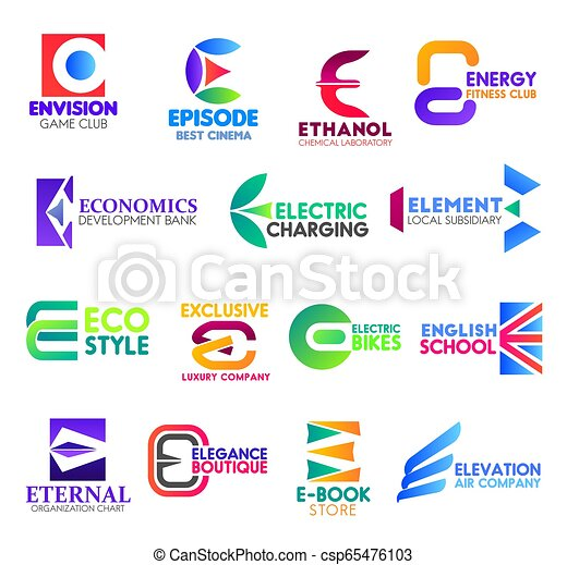 E Letter Corporate Identity Business Icons