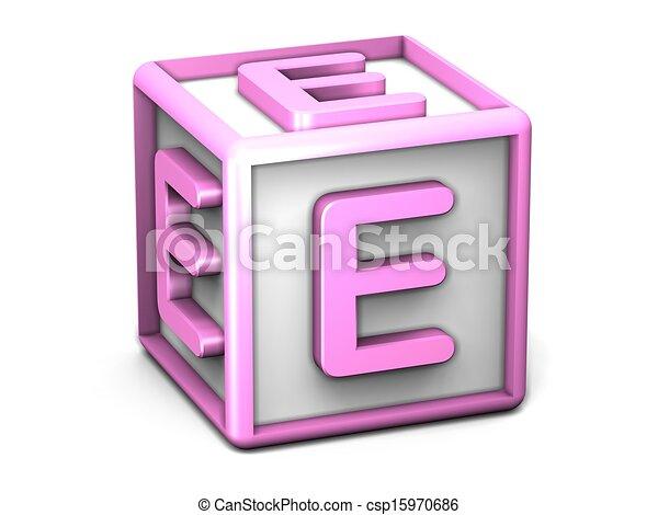 tempo La città attrito  E letter cube. A cube with the letter e.
