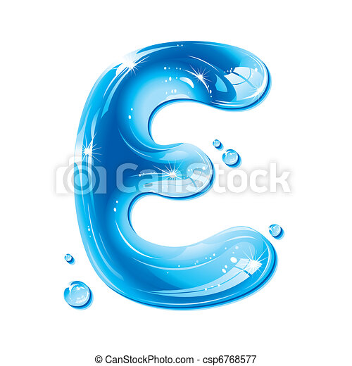 e, liquido, -, acqua, lettera, capitale - csp6768577