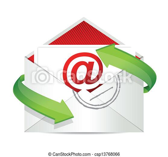 e-mail, conceito, desenho, ilustração - csp13768066