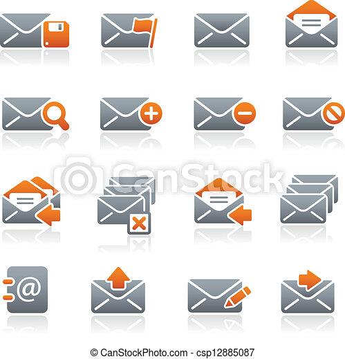 //, e-mail, icônes, graphite, série - csp12885087