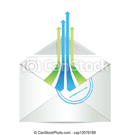 E-mail icon. Envelope mail with leader arrows - csp13076189