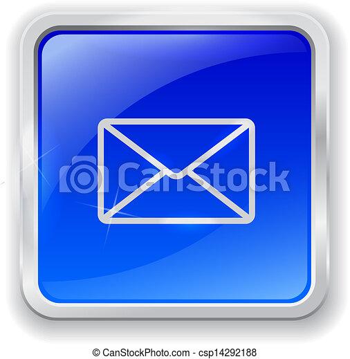 E-mail icon on blue button - csp14292188
