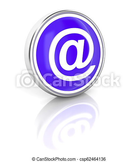 E-mail icon on glossy blue round button - csp62464136