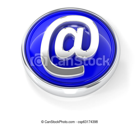 E-mail icon on glossy blue round button - csp63174398