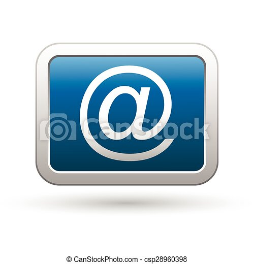 E mail icon on the blue button - csp28960398