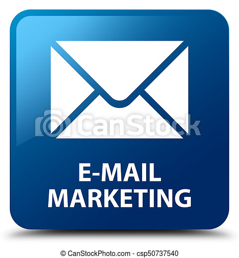 E-mail marketing blue square button - csp50737540