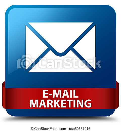 E-mail marketing blue square button red ribbon in middle - csp50687916