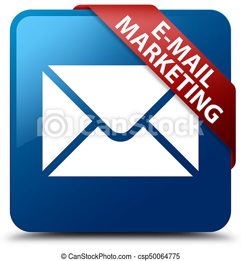 E-mail marketing blue square button red ribbon in corner - csp50064775