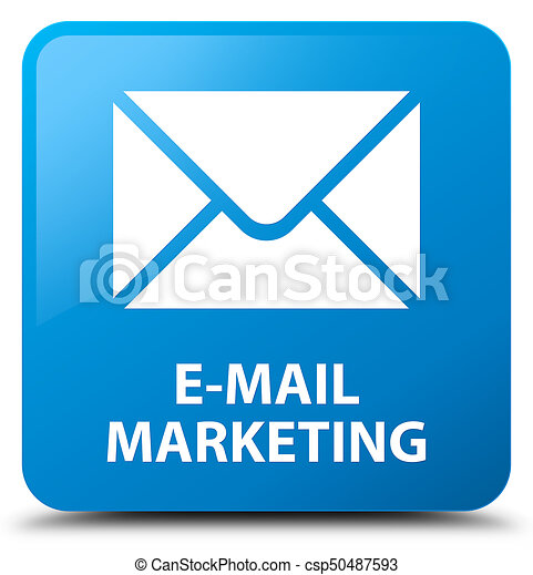 E-mail marketing cyan blue square button - csp50487593