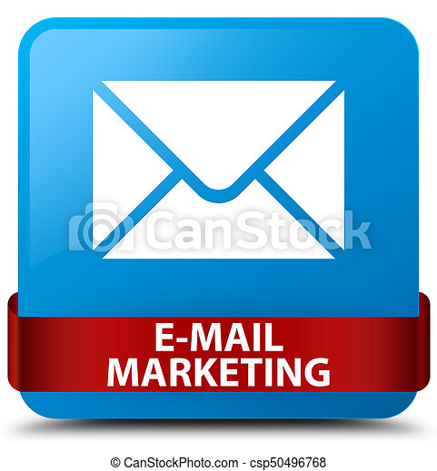 E-mail marketing cyan blue square button red ribbon in middle - csp50496768