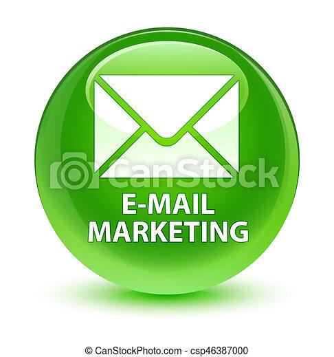 E-mail marketing glassy green round button - csp46387000