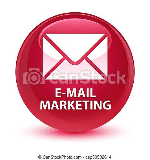 E-mail marketing glassy pink round button - csp50502614