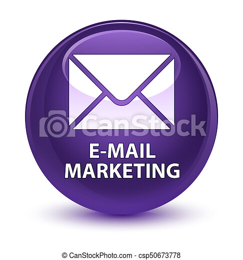E-mail marketing glassy purple round button - csp50673778