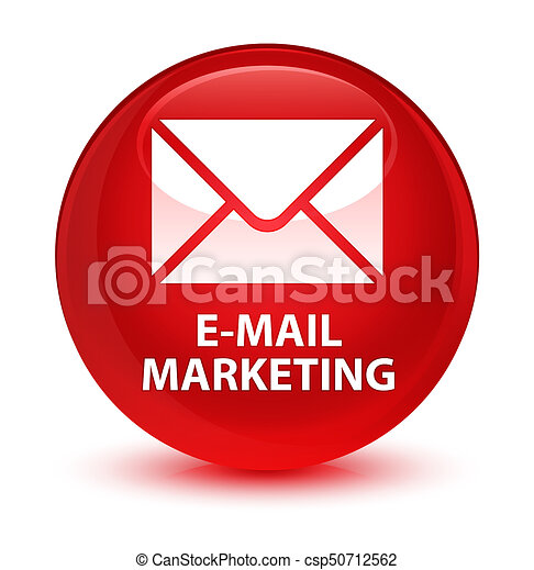 E-mail marketing glassy red round button - csp50712562